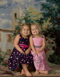Twin girls on location.