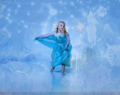 Elora doing her Elsa dance at the studio.