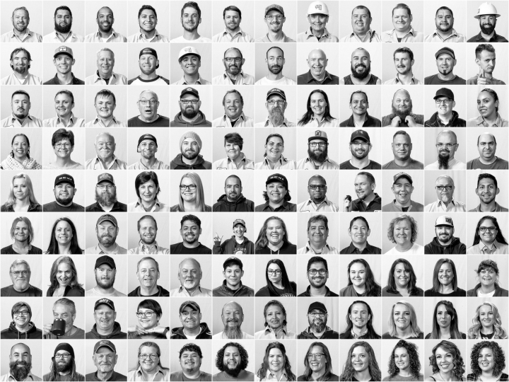 A composite image of various Clif Bar staff from Twin Falls Idaho.
