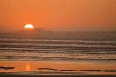 Sun setting on Heceta Beach near Florence, Oregon during February 2012