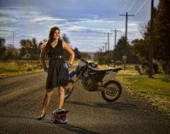 Jessica with her motocross bike.