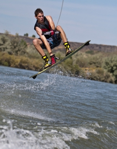 Ray jumping his wake board near Hagerman on the Snake River.