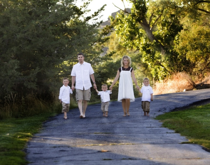 A family picture outdoors at Blue Lakes Country Club.